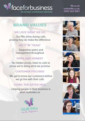 Face for Business Brand Values Telephone Answering Service